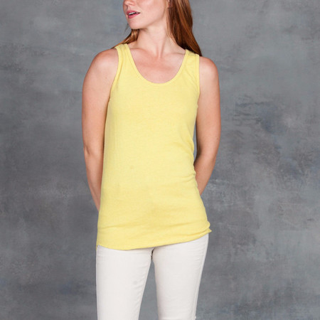 Black Crane Hemp Cotton Tank Top in Lemon