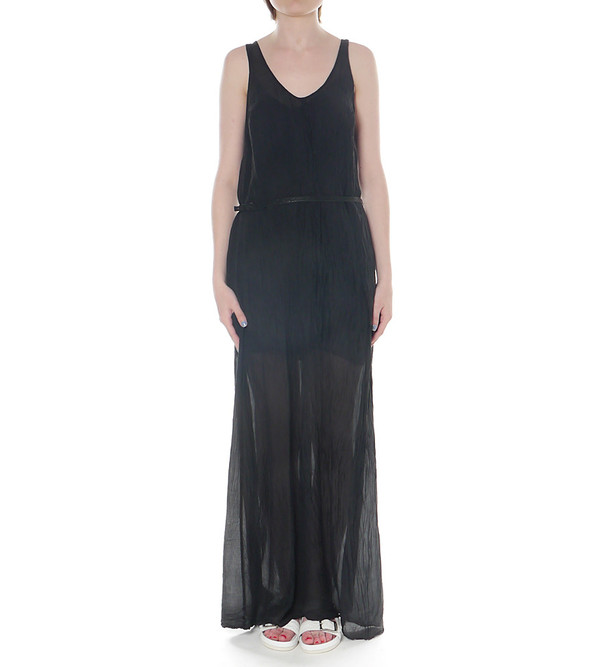 Raquel Allegra Maxi Silk Tank Dress with Belt