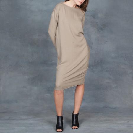 Black Crane Slim Dress in Sand