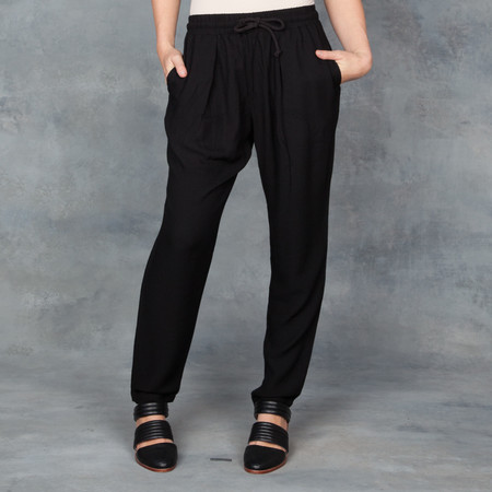 Black Crane Slim Pant with Draw Tie