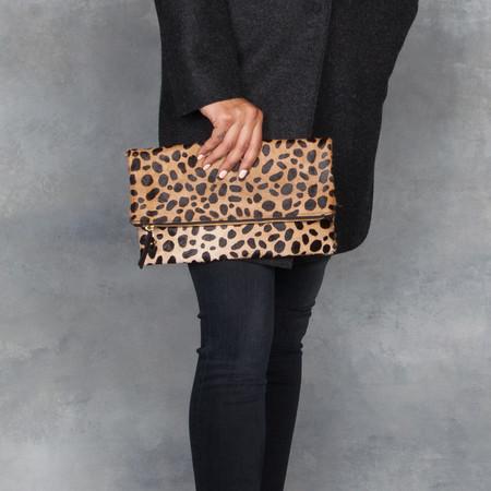 Clare V. Foldover Clutch Leopard Hair-On