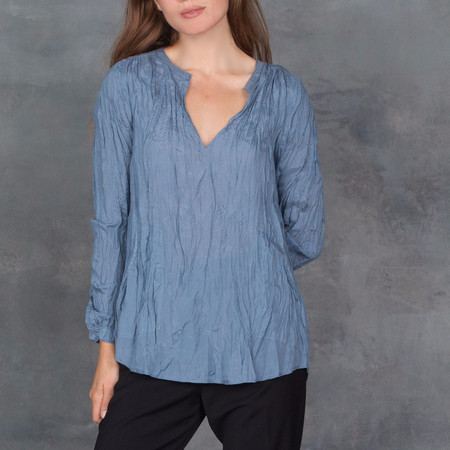 GOSILK Go India Silk Long Sleeve Blouse in Mist