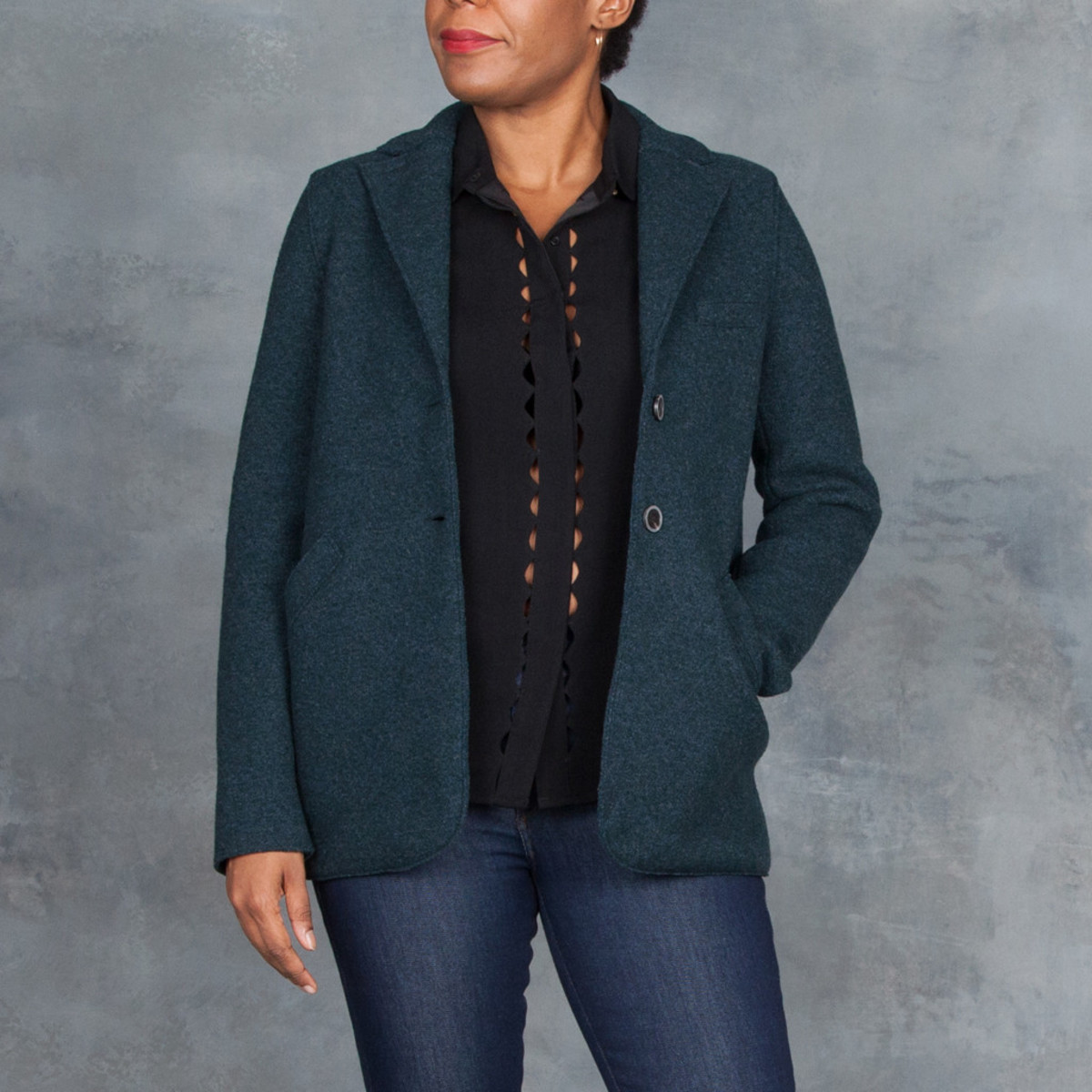 harris wharf london military jacket teal from tamarind clothing boutique garmentory. Black Bedroom Furniture Sets. Home Design Ideas