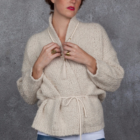 Humanoid Eagle Sweater Chunky Cardigan Wrap in Natural