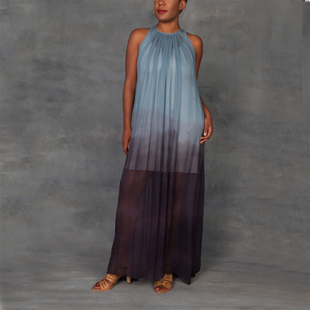 Jill Aiko Yee Awaken Dress Silk Chiffon Ombre Dip Dye with Grey Slip