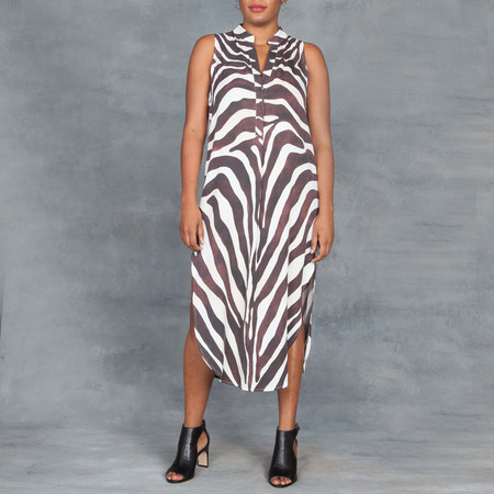Mara Hoffman Zebra Midi Sleeveless Shirt Dress