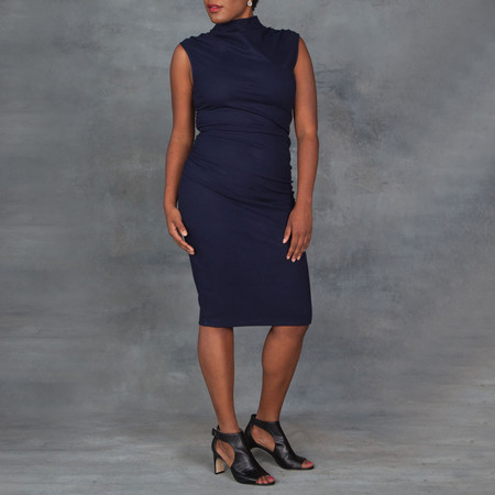 Obakki Navy Cowl Drape Dress