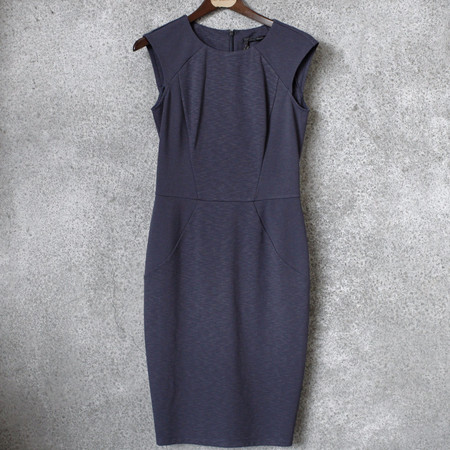 Obakki Navy Panel Dress in Ponte
