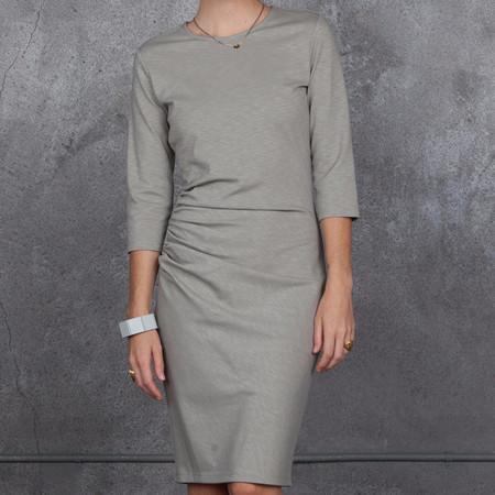 Obakki Shirred Ponte Dress in Grey