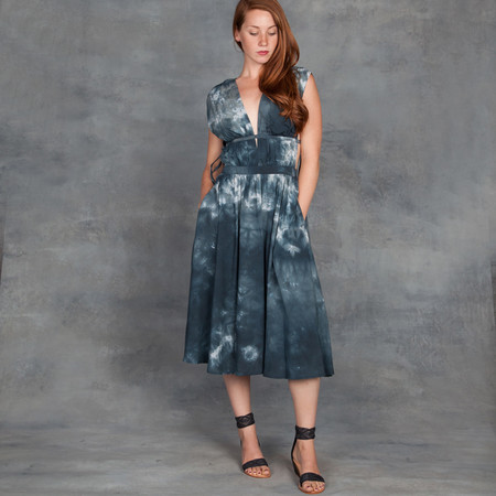 Obakki Tula Dress in Green and Blue Tie Dye