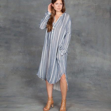 Raquel Allegra Cotton Gauze Henley Dress in Blue Stripe