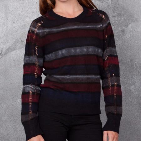 Raquel Allegra Raglan Pullover Tie Dye Stripe with Shredded Cashmere