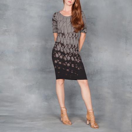 Raquel Allegra Short Sleeve Fitted Dress in Black Grey Tie Dye