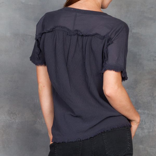 Skin Graphite Cotton Short Sleeve Top