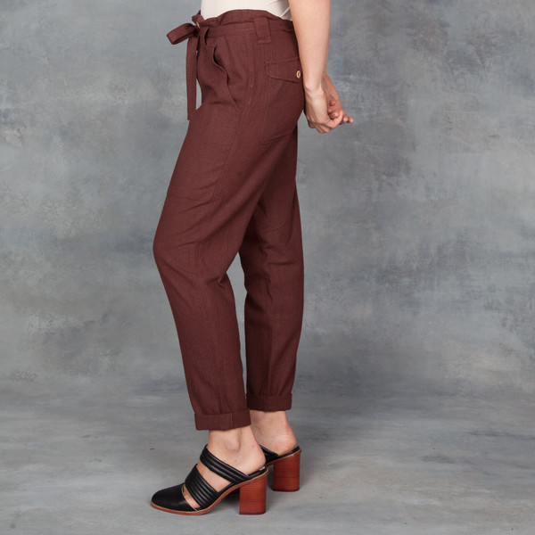 Ulla Johnson Burgundy Dune Pant in Raw Silk