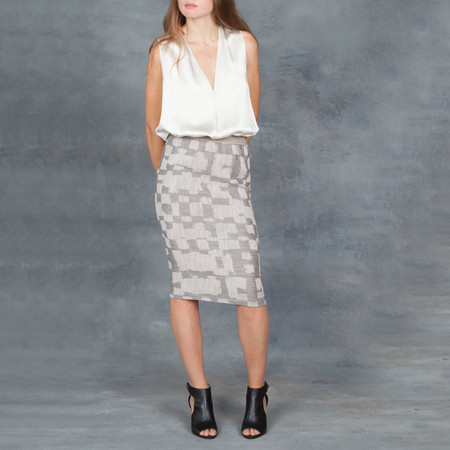 Humanoid Graphic Gummy Pencil Skirt in Sand