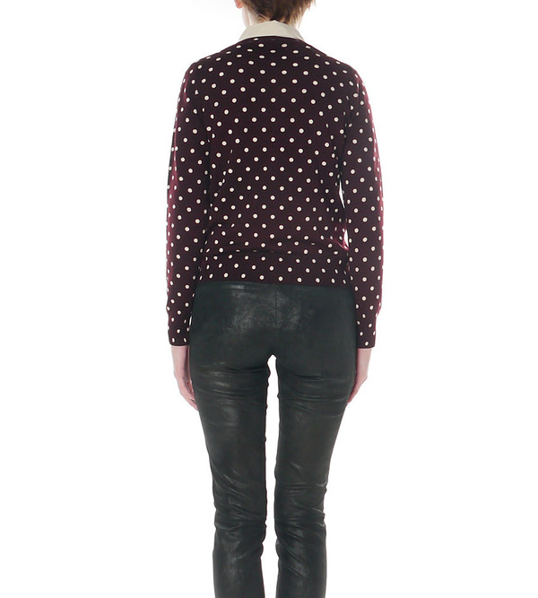 Comme Des Garcons Play Purple Polka Dot Cardigan