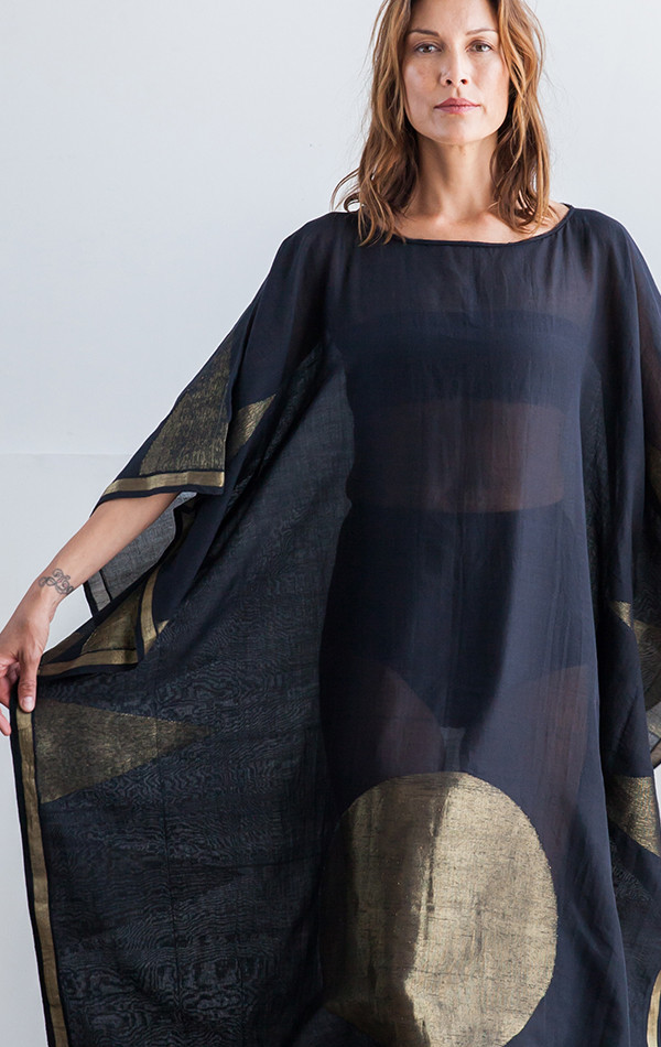 Two color block/stripe sari caftan