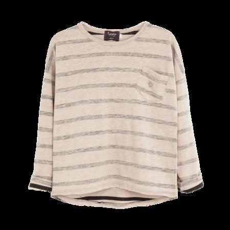 Kid's Tocoto Ecru & Navy Striped Long-Sleeve Shirt- CouCou Boston