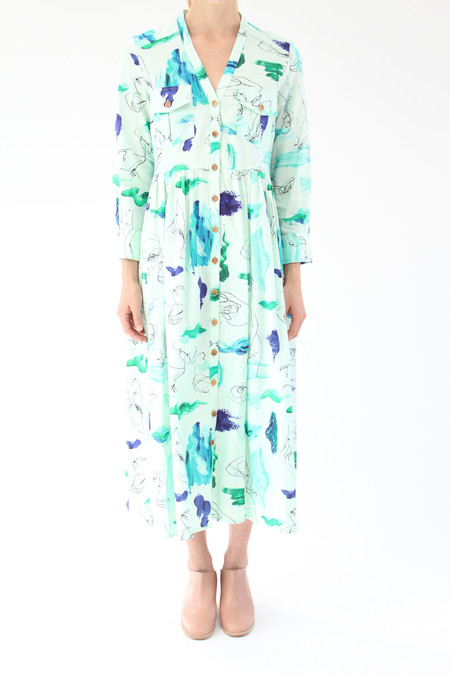 Heinui Nico Dress Mint Strokes Scribbles Print