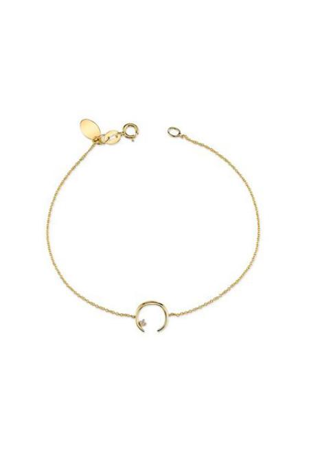 Gabriela Artigas Mini Rising Bracelet with Double Diamond 14K Yellow Gold