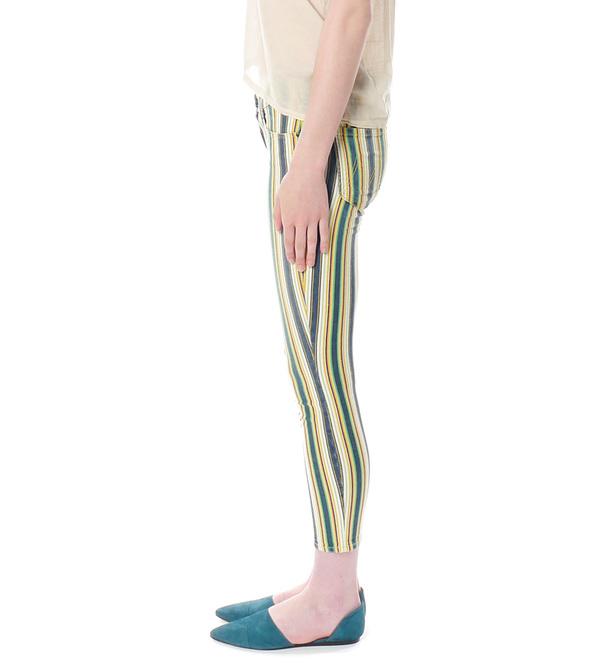 Mother Denim The Looker Crop in Green Stripe