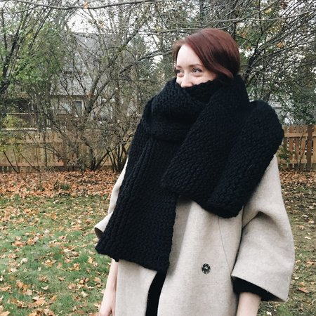 Byron & Blue Double Knit Black Wool Blanket Scarf