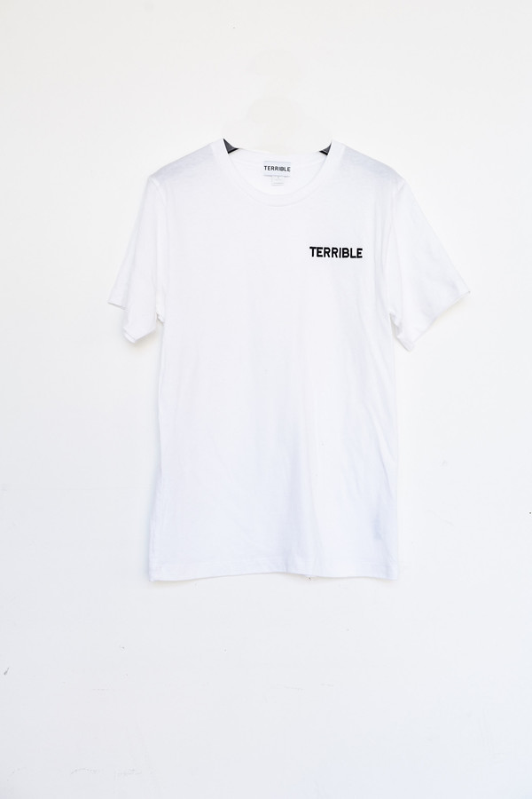 Unisex Terrible Records Cotton Embroidered T-shirt - White