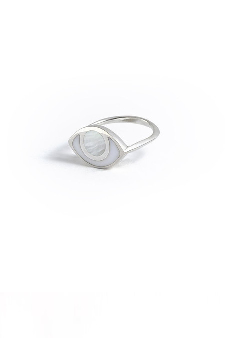 marta pia third eye sterling silver ring with mother of pearl