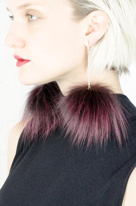 Tuleste Burgundy Silver Fox Pom Pom Earrings