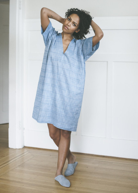 The Sleep Shirt Kaftan in Blue Chain Stitch