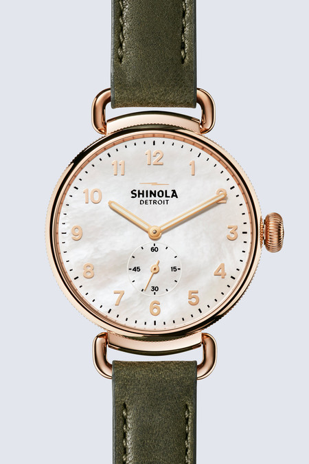 Shinola The Canfield 38mm Watch in Mother of Pearl/Spruce Green