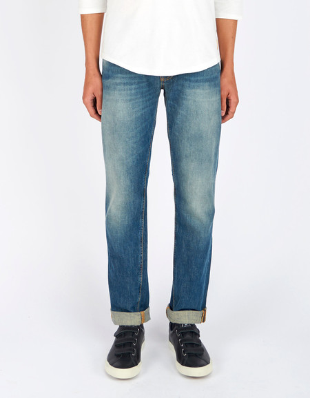 Men's Nudie Steady Eddie Indigo Larch Washed Indigo
