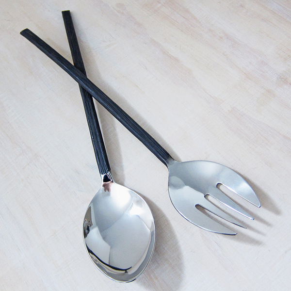 bark-handled salad servers