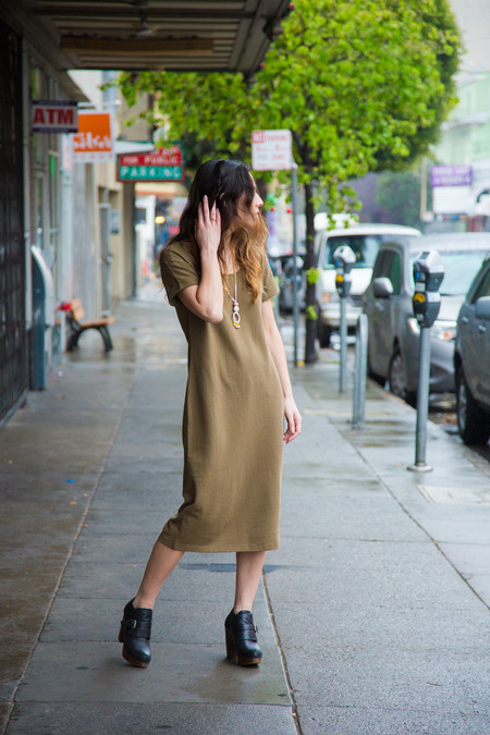 Ali Golden Roll Sleeve T-shirt Dress - Olive