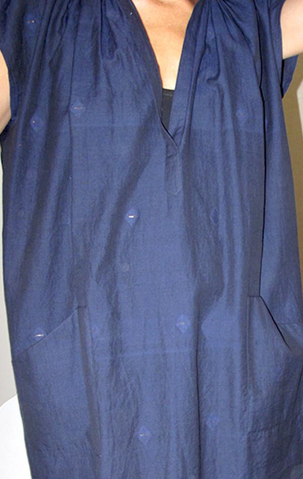 Two New York Blue/Black Khadi tunic with metallic weave