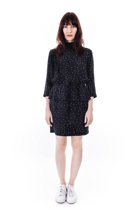 Ganni Rosemont Crepe Dress in Dotted Eclipse