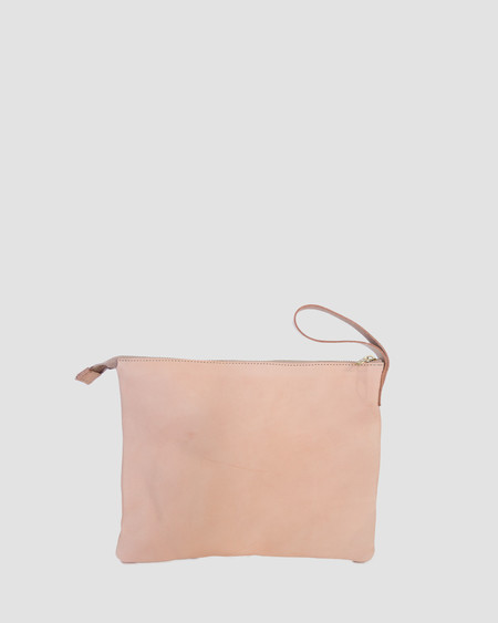 ESBY LEATHER CLUTCH - NATURAL