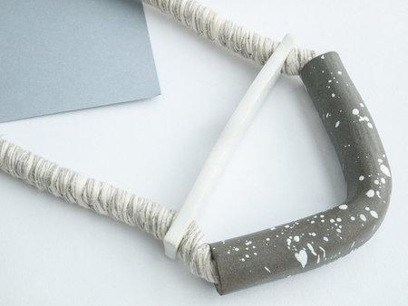 YYY white/gray bent half moon necklace
