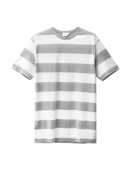 Sunspel Block Stripe Crew Neck Brent/White