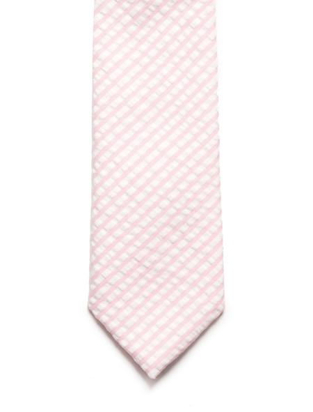 Neighbour Cotton Tie Pink Seersucker