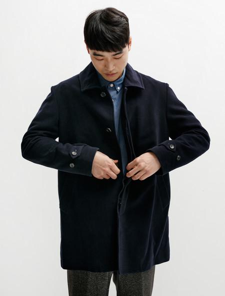 Niuhans Double-Cloth Suede Cotton Half Coat Navy