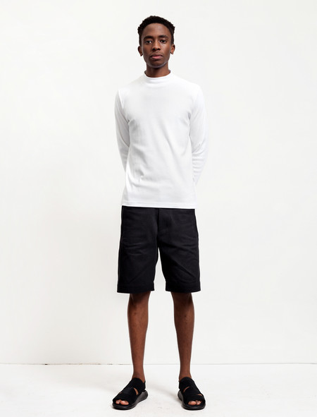 Patrik Ervell Mens Long Shorts Black Cotton Twill