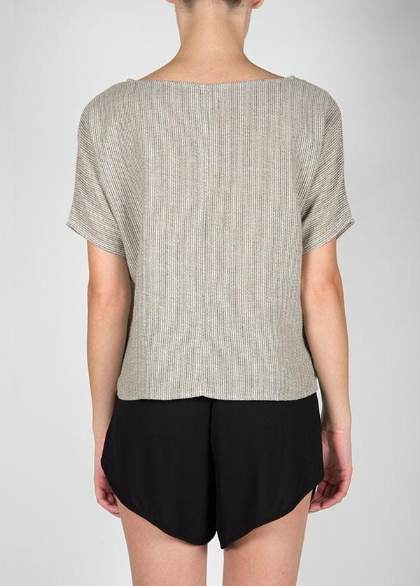 Me & Arrow - Sleeve Box Tee in Black Stripe