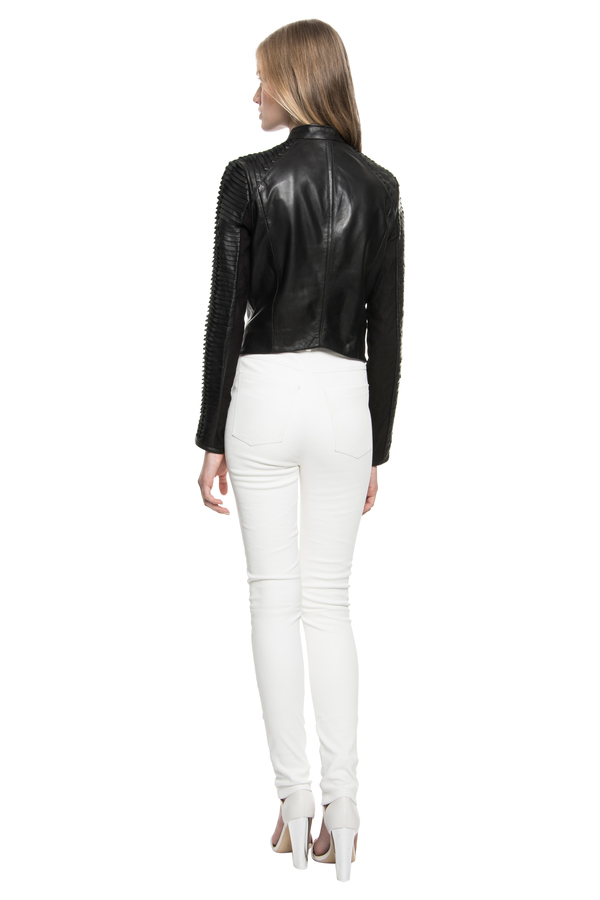 PAIGE Leather Strip Jacket
