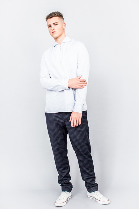 CMMN SWDN Led Zip Shirt White Stripe