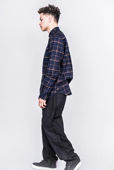DDUGOFF Henry Shirt Plaid Flannel Royal Navy/Ochre