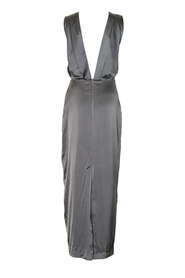 Gestuz Grey Silk Lulu Maxi Dress