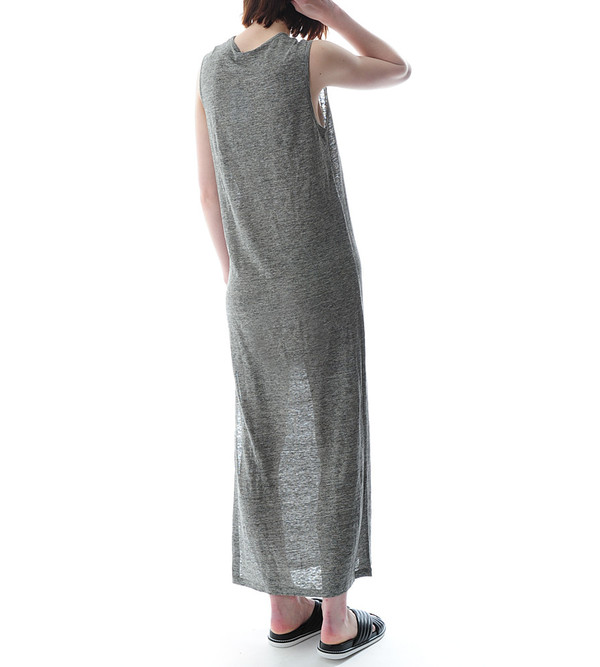 T By Alexander Wang Heather Linen Jersey Long Muscle Dress