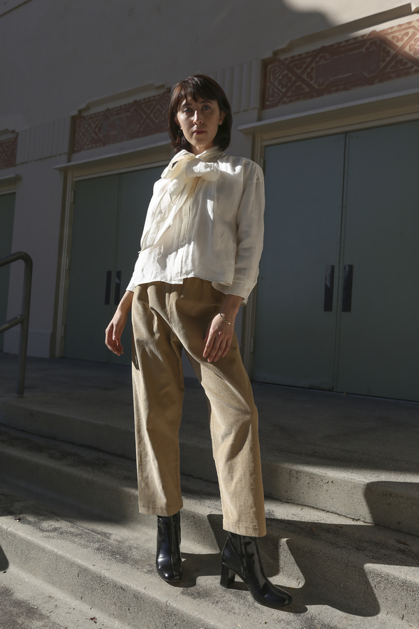 Baserange Corduroy Loose Pants in Nude